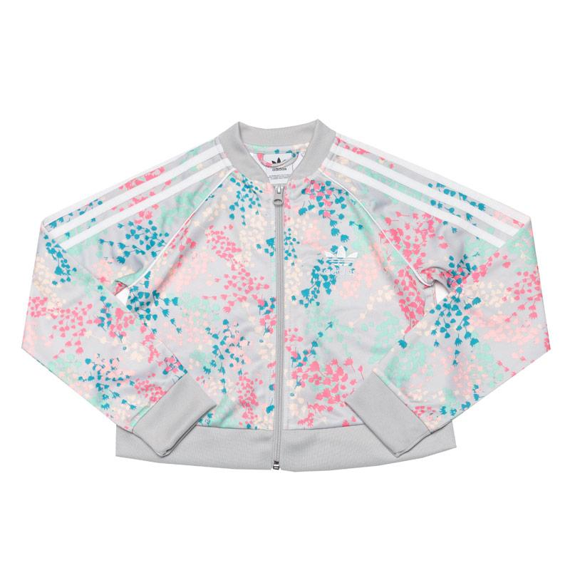 Adidas Junior Girls Crop Track Top Multi colour