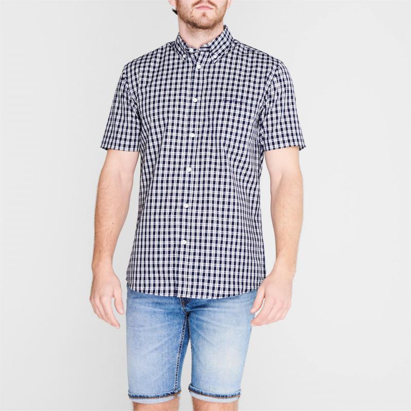 Pierre Cardin Short Sleeve Micro Check Shirt Mens Navy Check