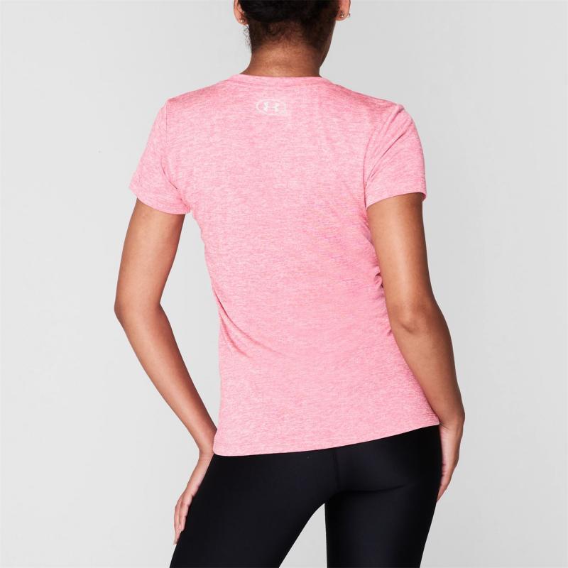Under Armour Tech Twist Short Sleeve T Shirt Ladies Pink Lemonade