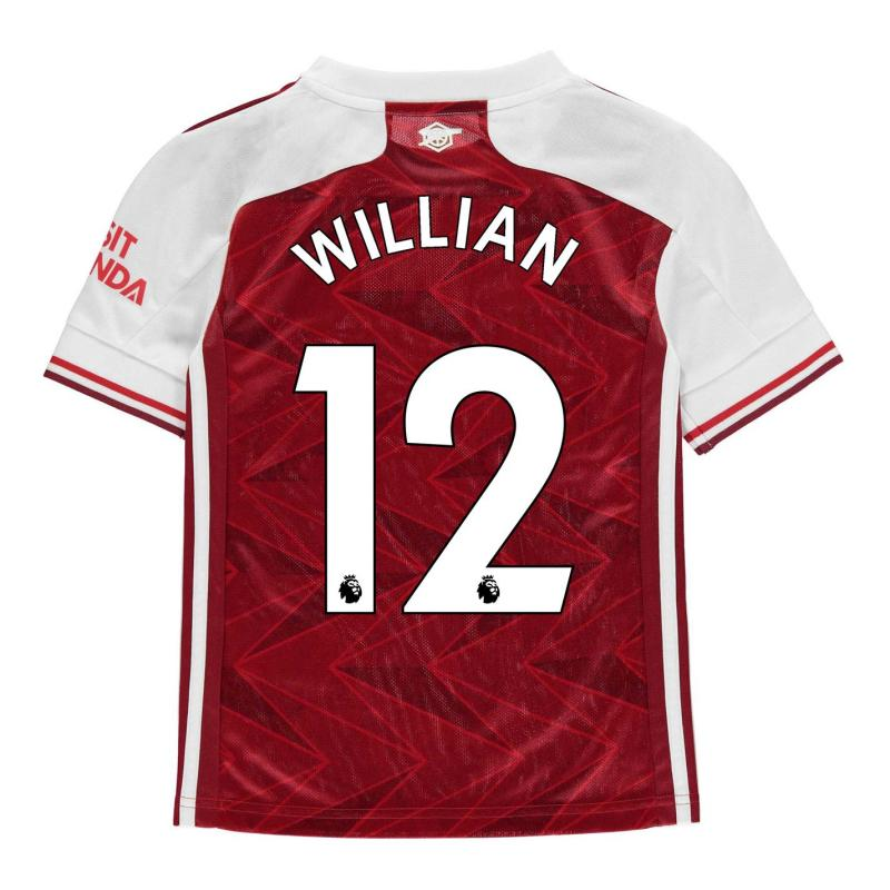 Adidas Arsenal Willian Home Shirt 2020 2021 Junior Red