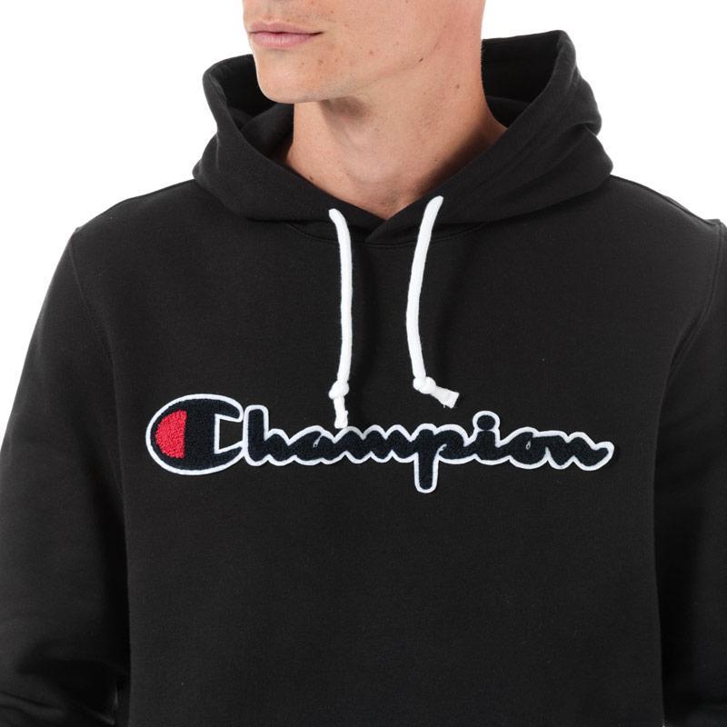 Mikina Champion Mens Large Logo Hoody Black