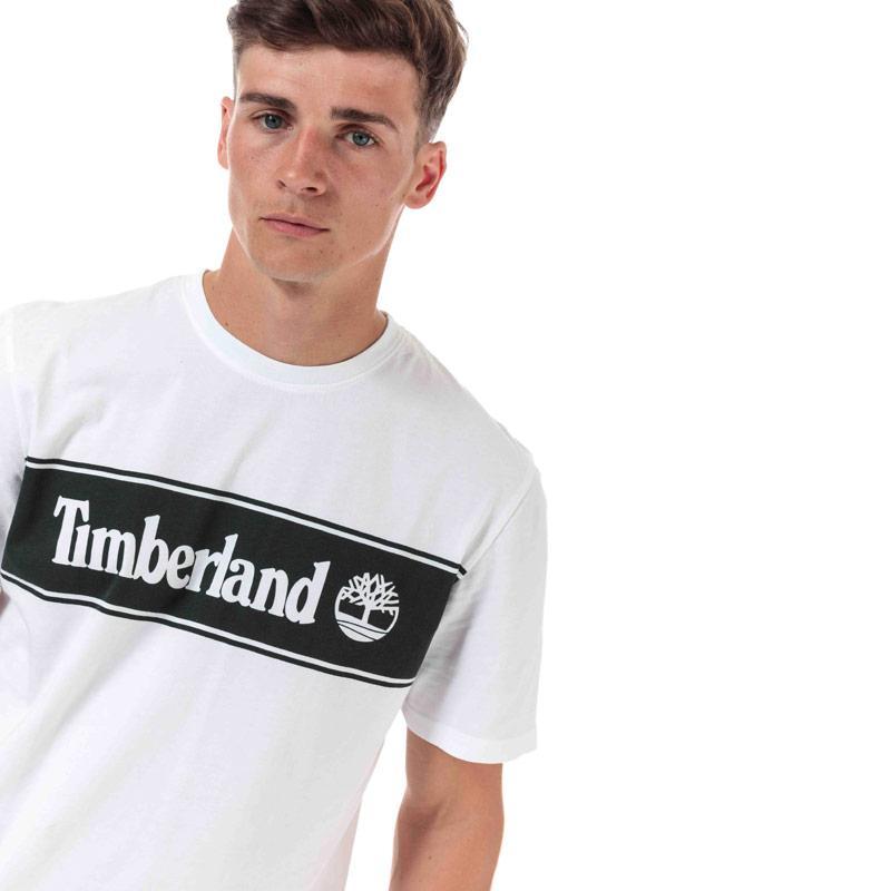 Tričko Timberland Mens YC Striped Logo T-Shirt White