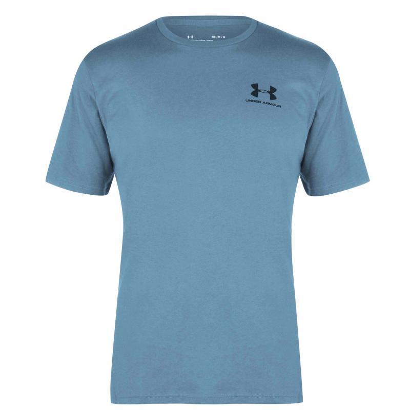 Tričko Under Armour Left Chest Logo Short Sleeve T Shirt Mens Lichen Blue