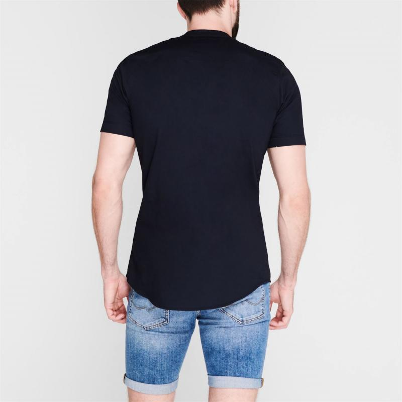 Firetrap Grandad Collar Shirt Mens Navy