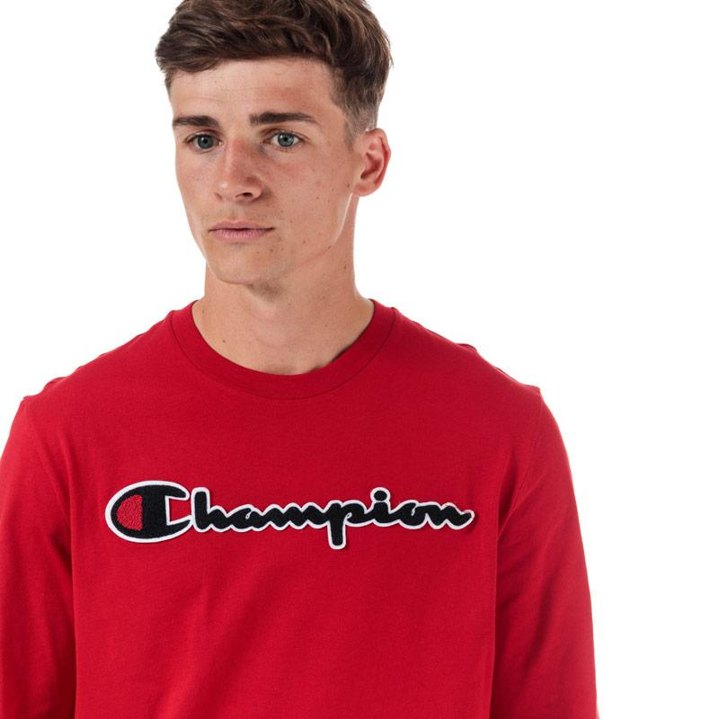 Champion Mens Large Logo Long Sleeve T-Shirt Red