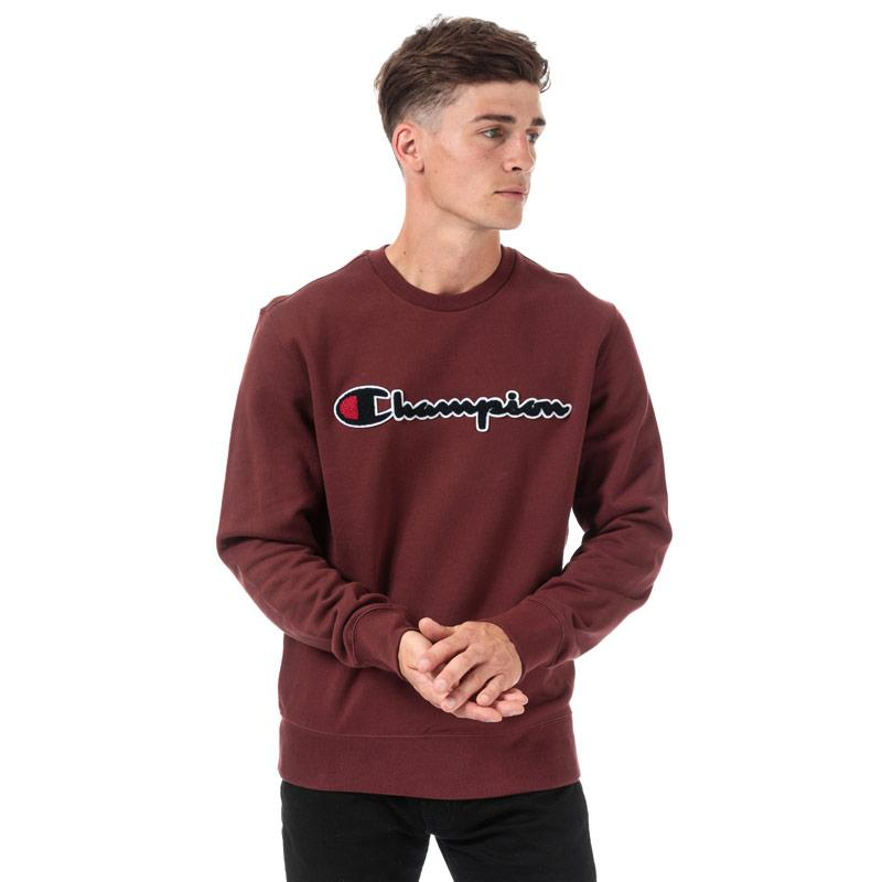 Mikina Champion Mens Large Logo Sweatshirt Burgundy