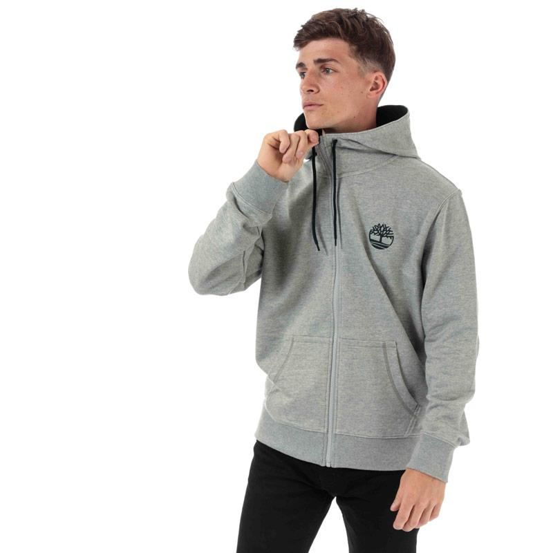 Mikina Timberland Mens OR Flock Logo Zip Hoody Grey