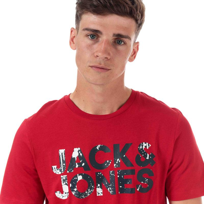 Tričko Jack Jones Mens Splash Corp Logo T-Shirt Red