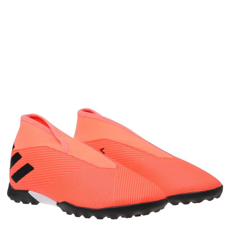Adidas Nemeziz 19.3 Junior Laceless Astro Turf Trainers SignCoral/Black