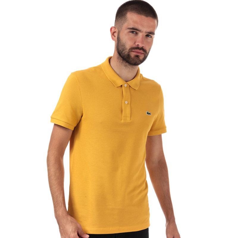 Lacoste Mens Slim Fit Petit Piqué Polo Shirt Yellow