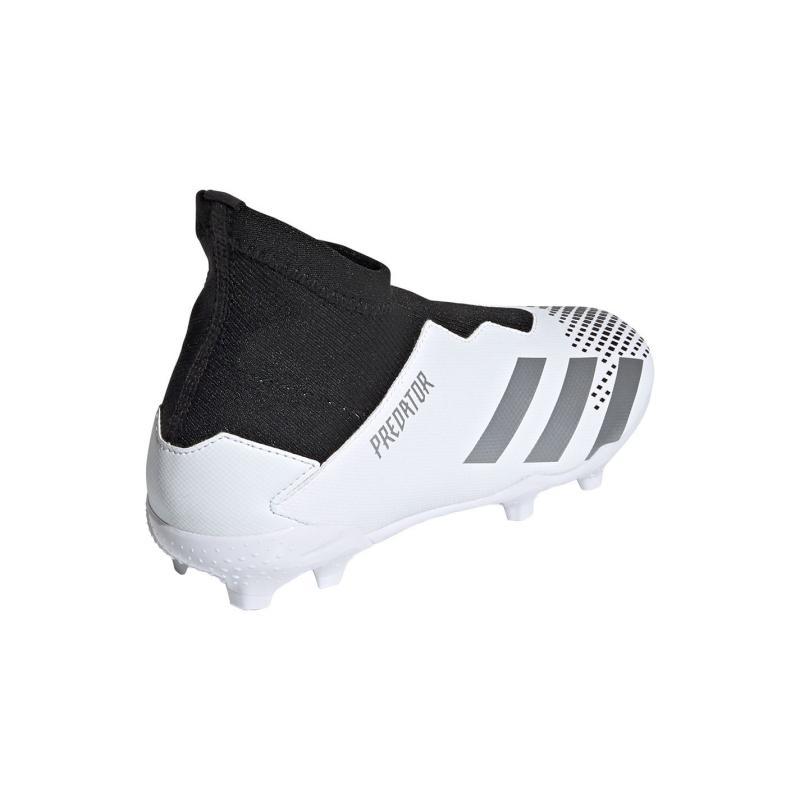 Adidas Predator 20.3 Laceless Childrens FG Football Boots White/MetSilver