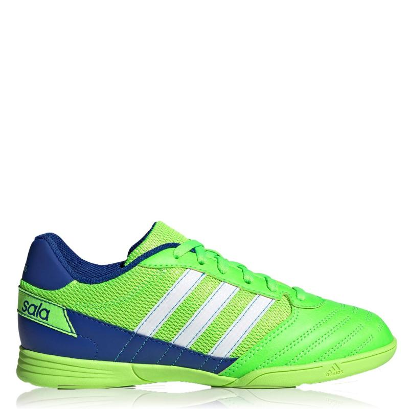 Adidas Super Sala Junior Boys Indoor Football Trainers Green/Wht/Blue