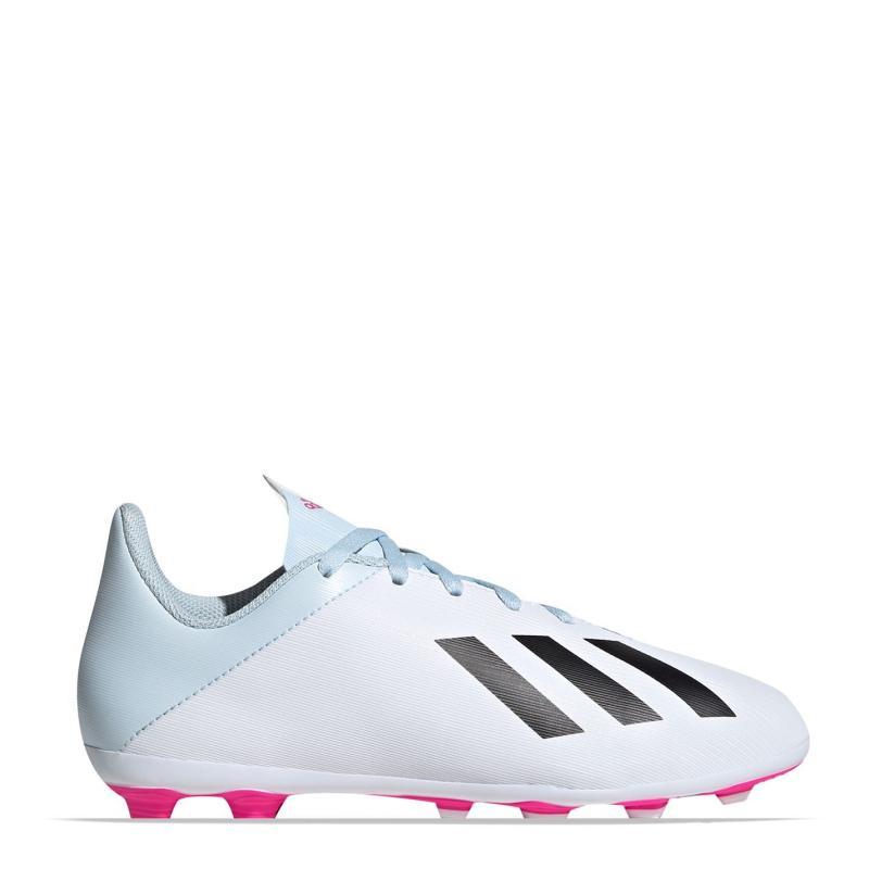Adidas X 19.4 FG Junior Boys Football Boots White/Blk/Pink