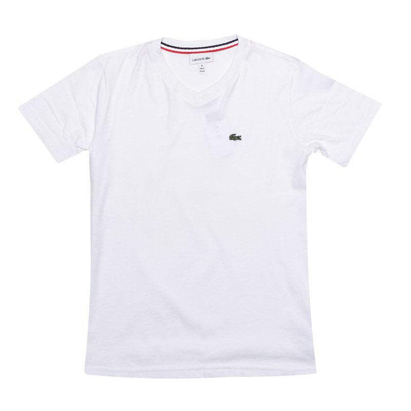 Tričko Lacoste Junior Boys Logo V Neck T-Shirt White