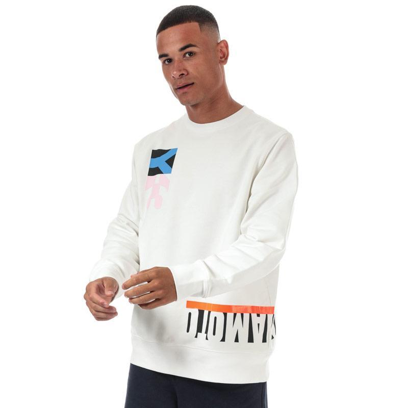 Mikina Y-3 Mens Multi Cut Graphic Crew Sweatshirt White