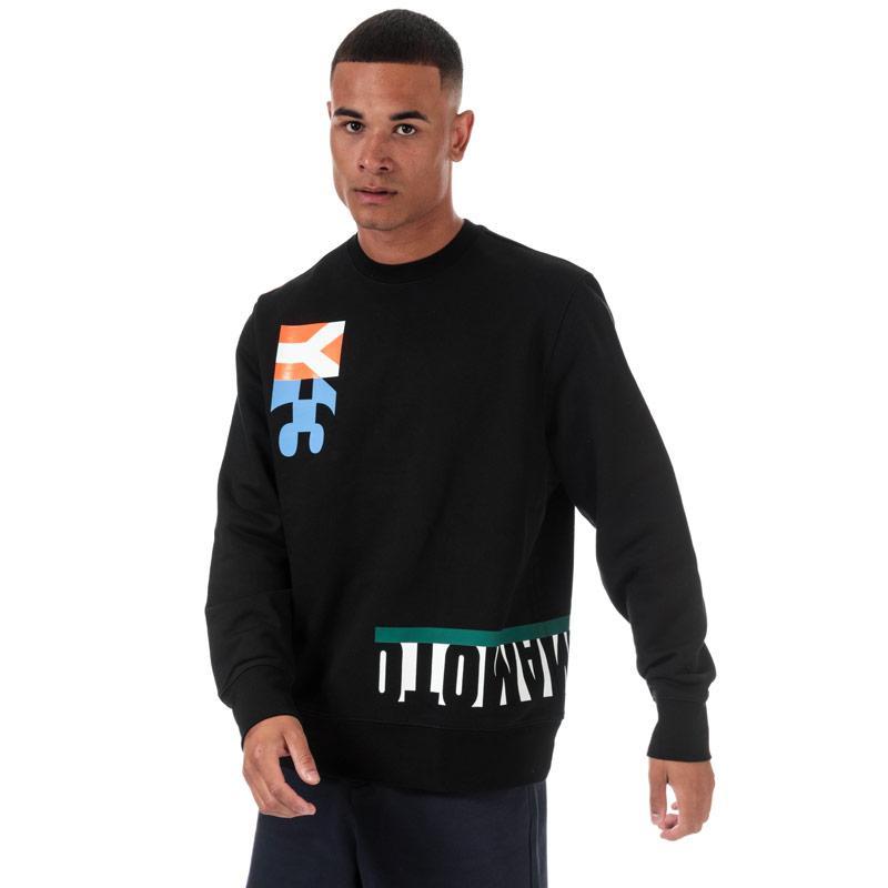 Mikina Y-3 Mens Multi Cut Graphic Crew Sweatshirt Black