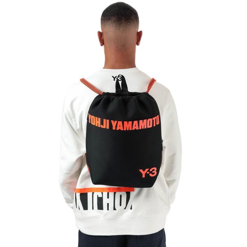 Y-3 Drawstring Bag black orange