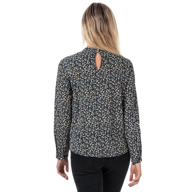 Only Womens New Mallory Long Sleeve Floral Top Navy