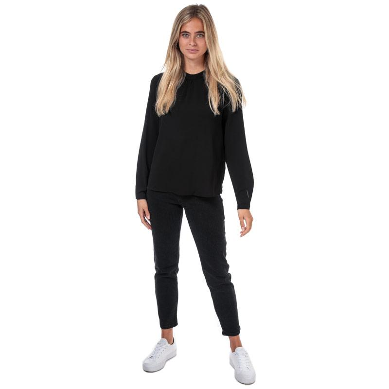 Only Womens New Mallory Long Sleeve Top Black