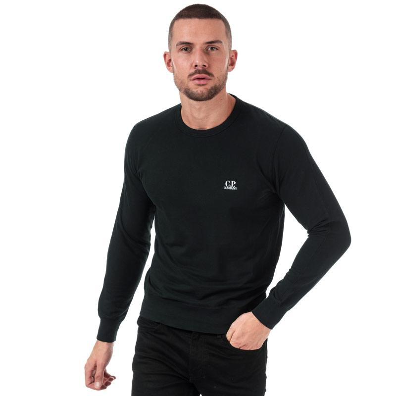 Mikina C.P. Company Mens Light Fleece Crew Neck Sweatshirt Black