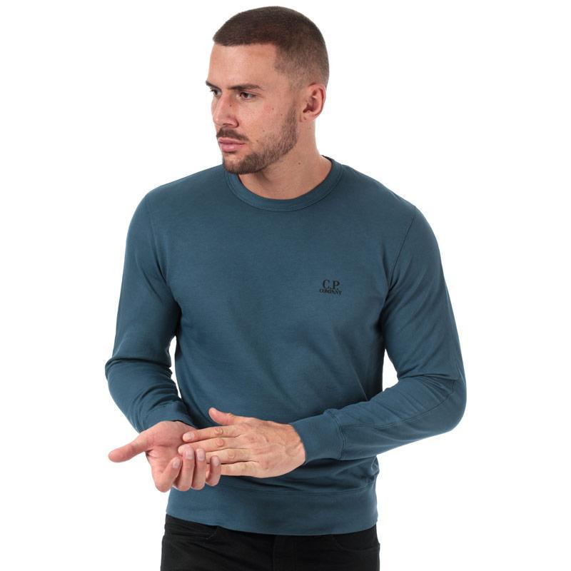 Mikina C.P. Company Mens Light Fleece Crew Neck Sweatshirt Blue