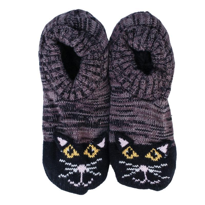 Brave Soul Womens Cat Slipper Socks Grey