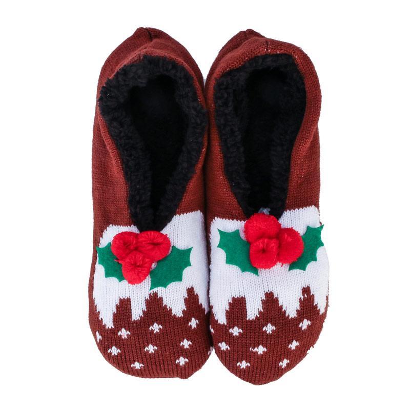Brave Soul Womens Christmas Pudding Slipper Socks Brown