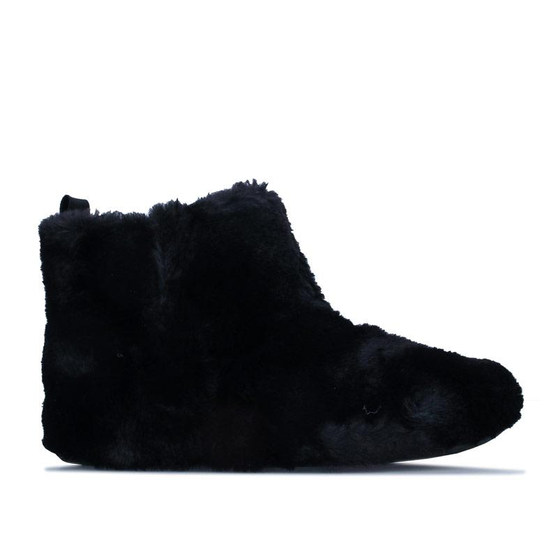 Fit Flop Womens Furry Bootie Slippers Black
