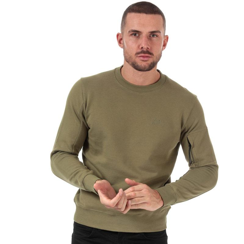 Mikina C.P. Company Mens Embroided Logo Sweatshirt Green