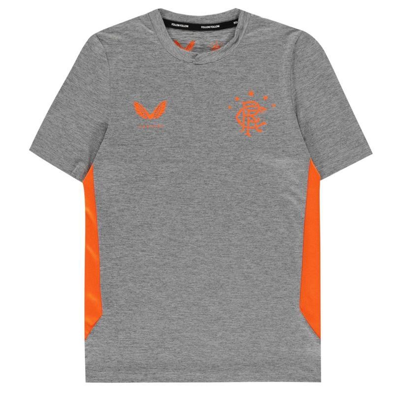 Castore Rangers Pre Match Shirt 2020 2021 Junior DK Grey/Orange