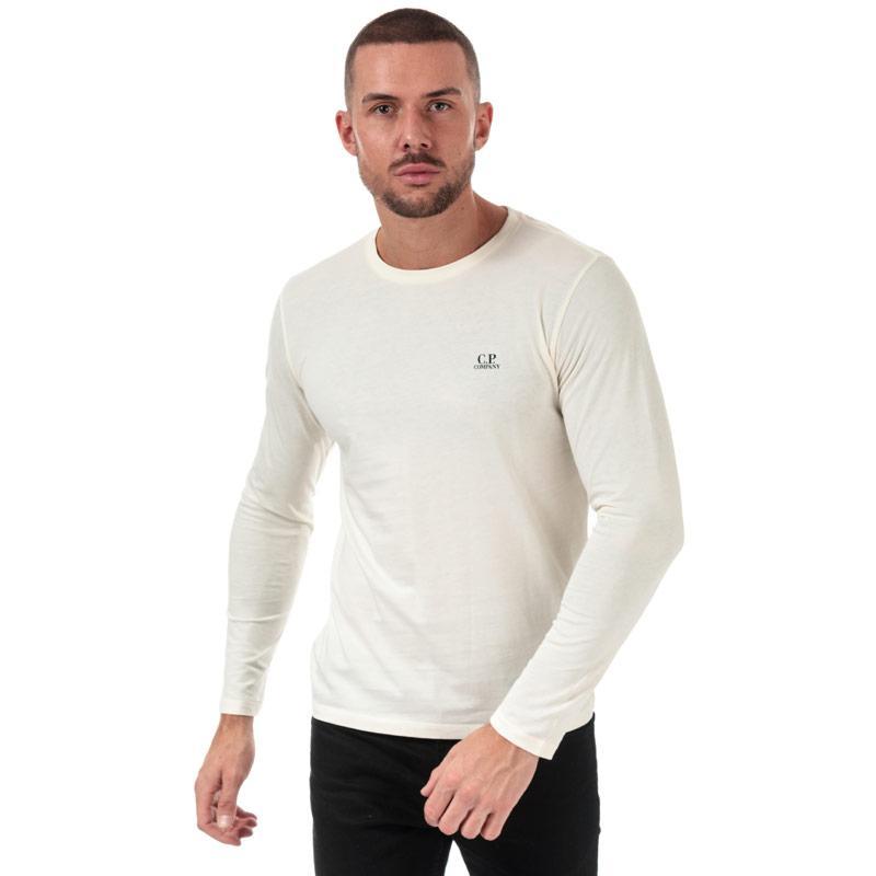 C.P. Company Mens J Dimond Logo Long Sleeve T-Shirt White