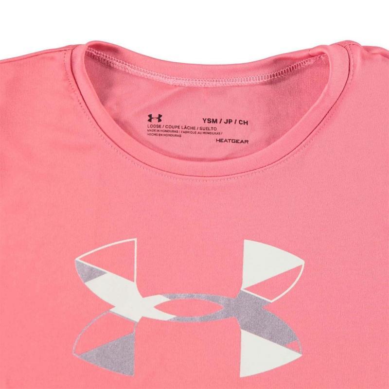 Under Armour Big Logo Short Sleeve T Shirt Junior Girls Pink Lemonade