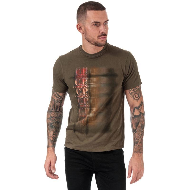 Tričko C.P. Company Mens Graphic Logo T-Shirt Green
