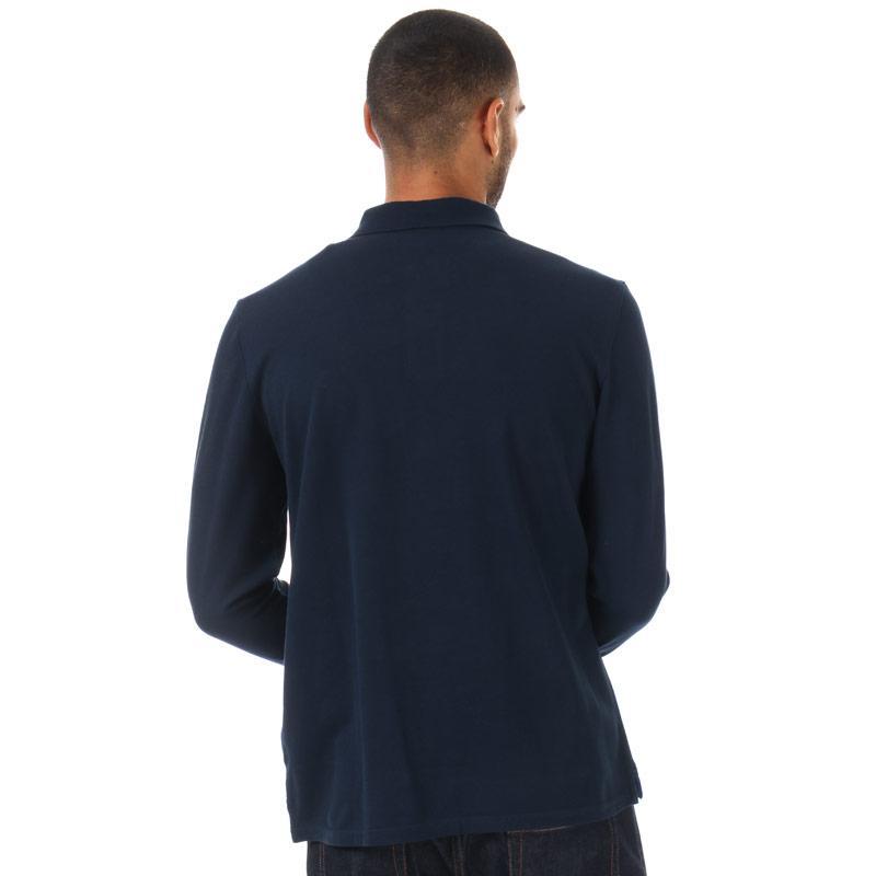 Timberland Mens Long Sleeve Pique Polo Shirt Navy