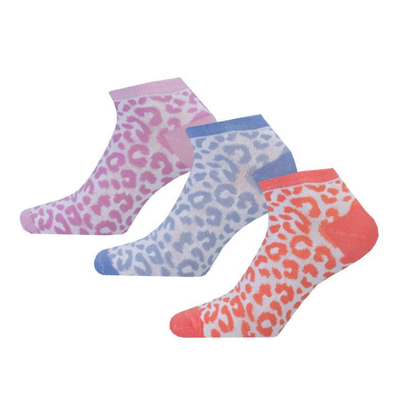 Ponožky Brave Soul Womens 3 Pack Leopard Trainer Socks Multi colour