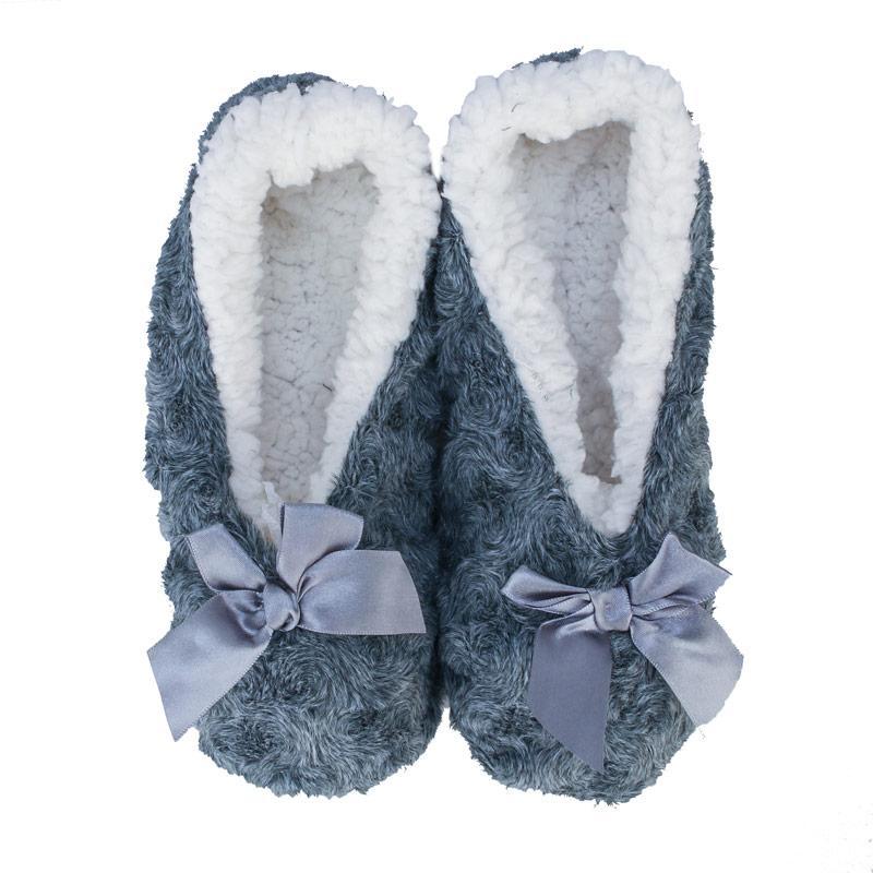 Brave Soul Womens Bow Slipper Socks Grey