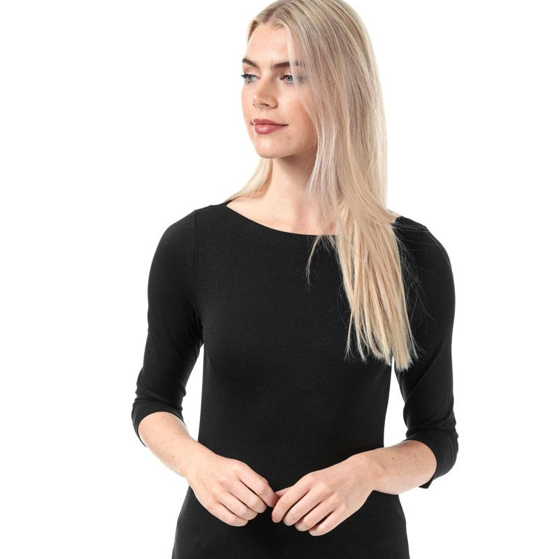 Vero Moda Womens Panda 3 Quarter Sleeve Top Black