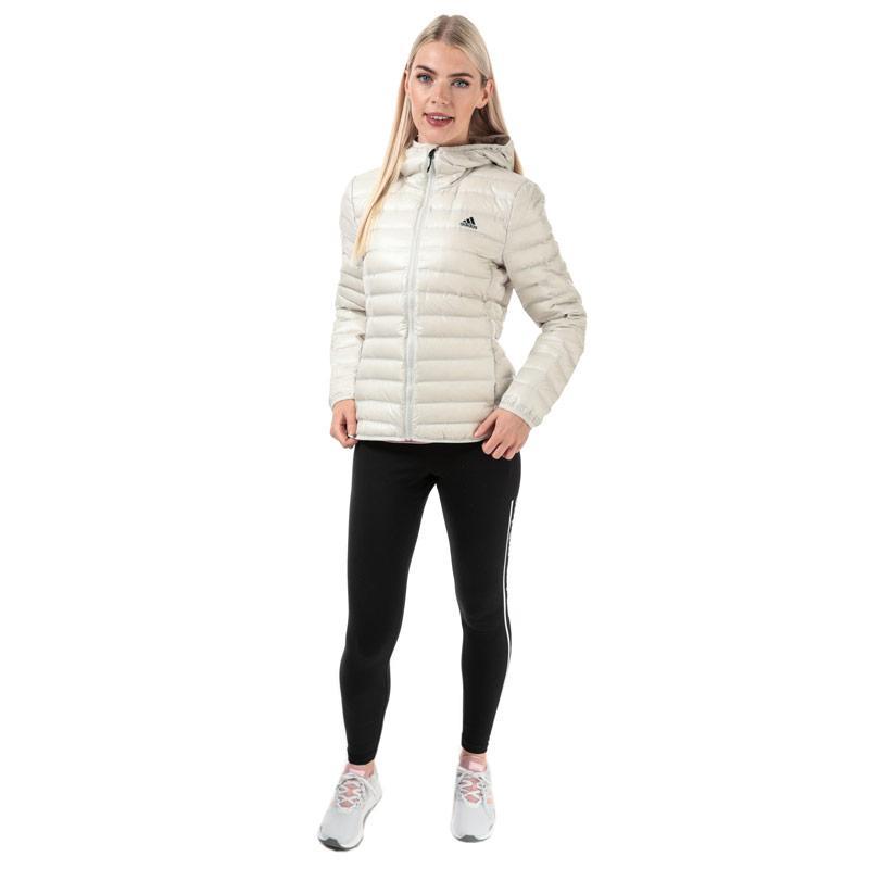 Adidas Womens Varilite Hooded Down Jacket Off White