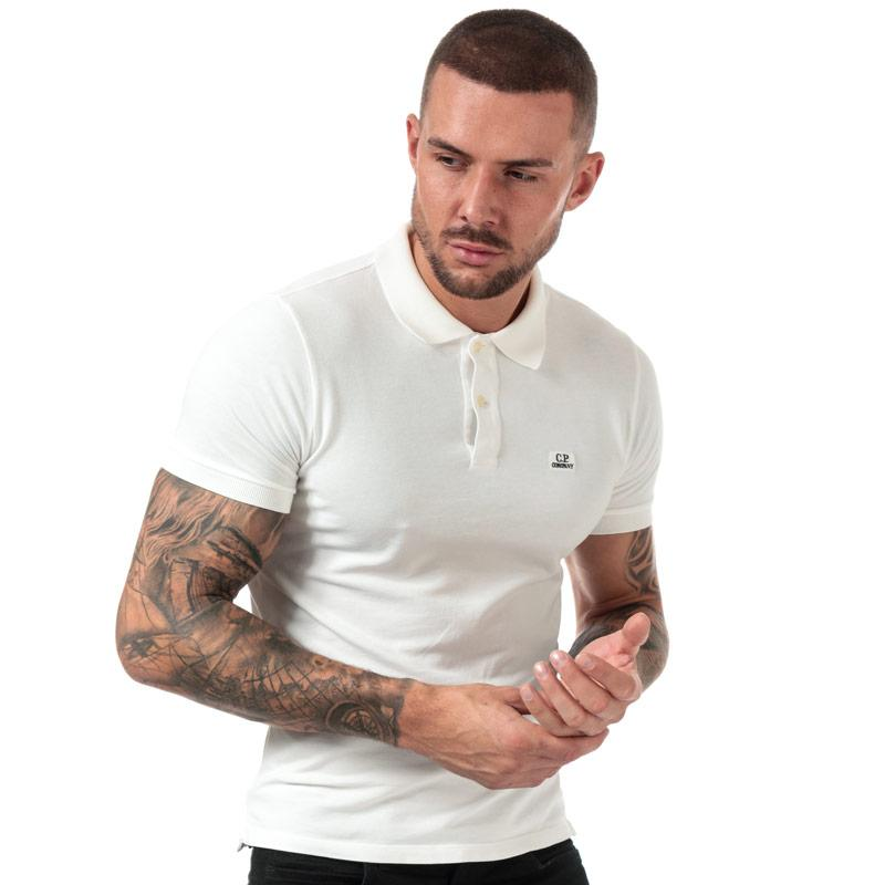 C.P. Company Mens Logo Polo Shirt White