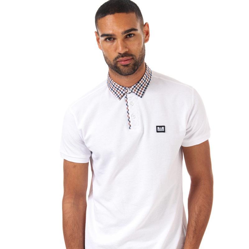 Weekend Offender Mens Nicks Check Collar Polo Shirt White