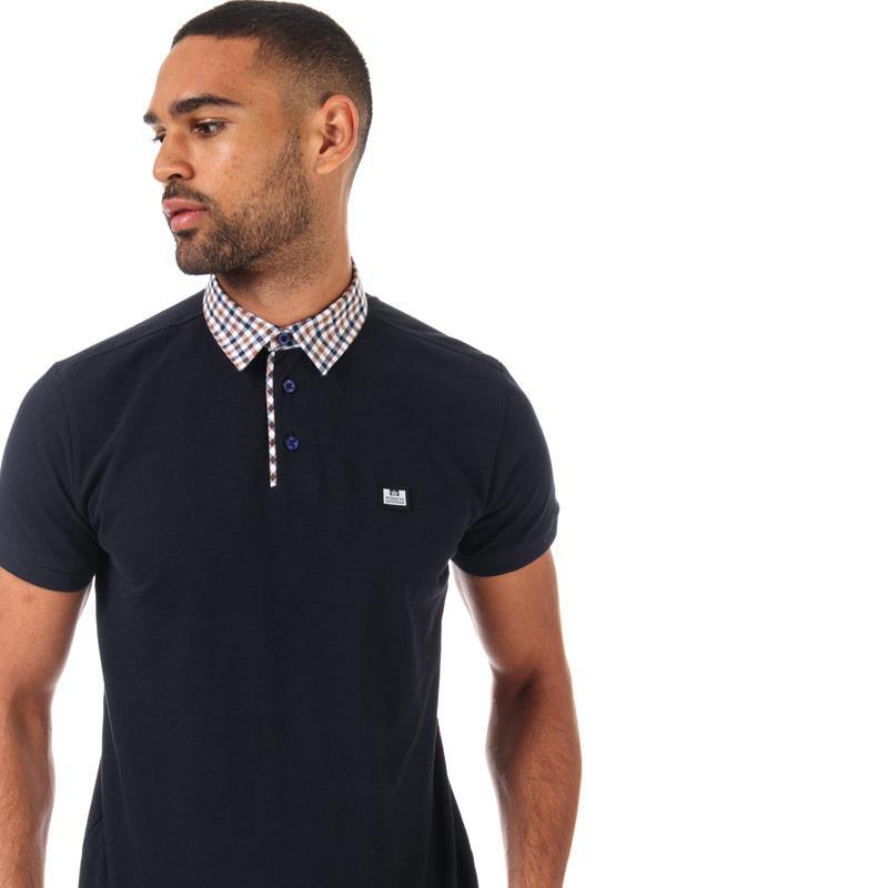 Weekend Offender Mens Nicks Check Collar Polo Shirt Navy