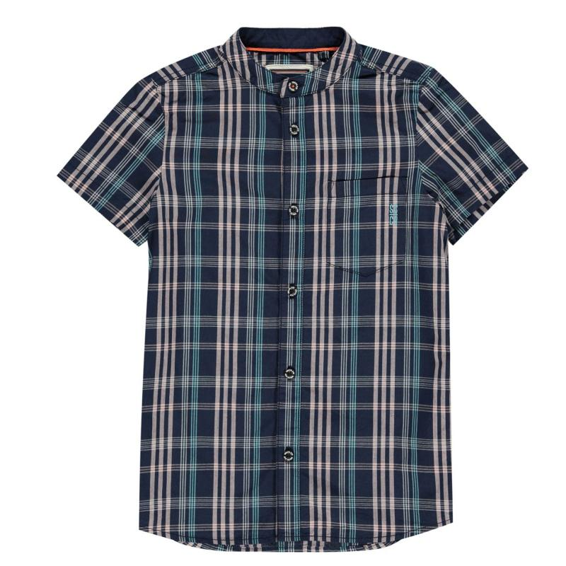 Košile SoulCal Short Sleeve Shirt Infant Boys Pink Check