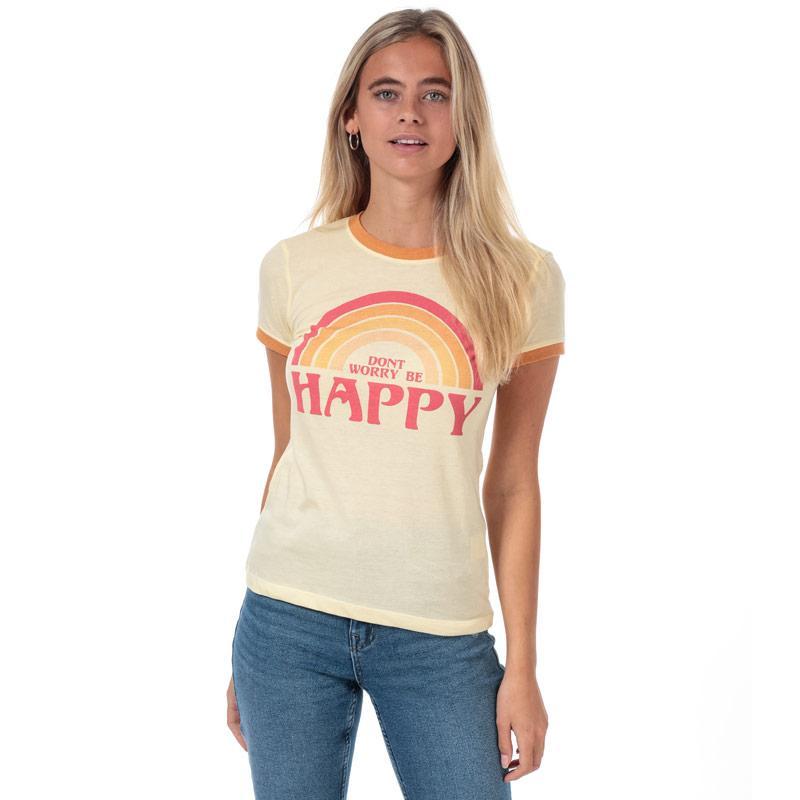 Brave Soul Womens Be Happy T-Shirt Orange yellow