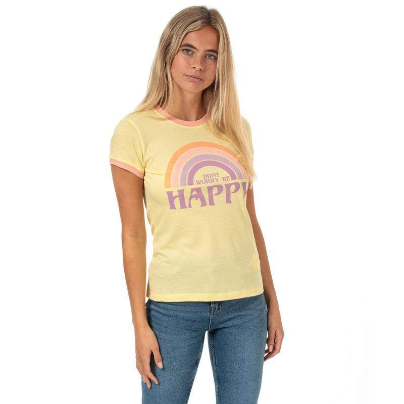 Brave Soul Womens Be Happy T-Shirt Yellow