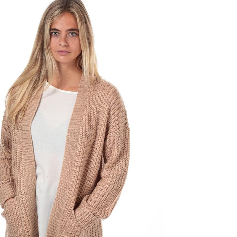 Svetr Brave Soul Womens Open Cardigan Taupe
