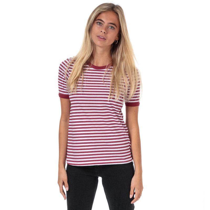 Brave Soul Womens Stripe T-Shirt red white