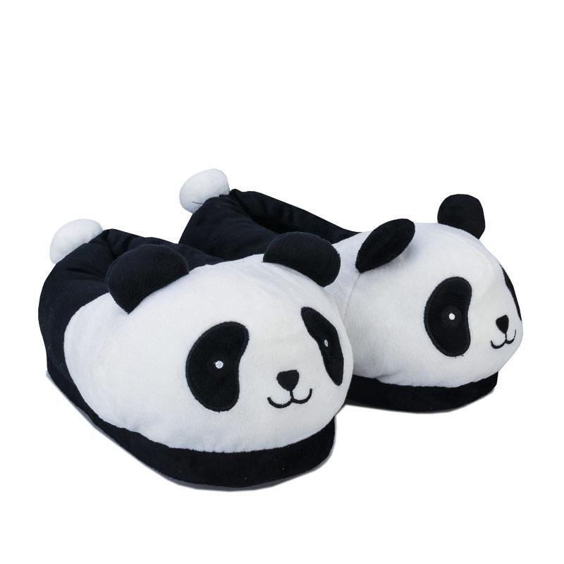 Brave Soul Womens Panda Slippers Black-White