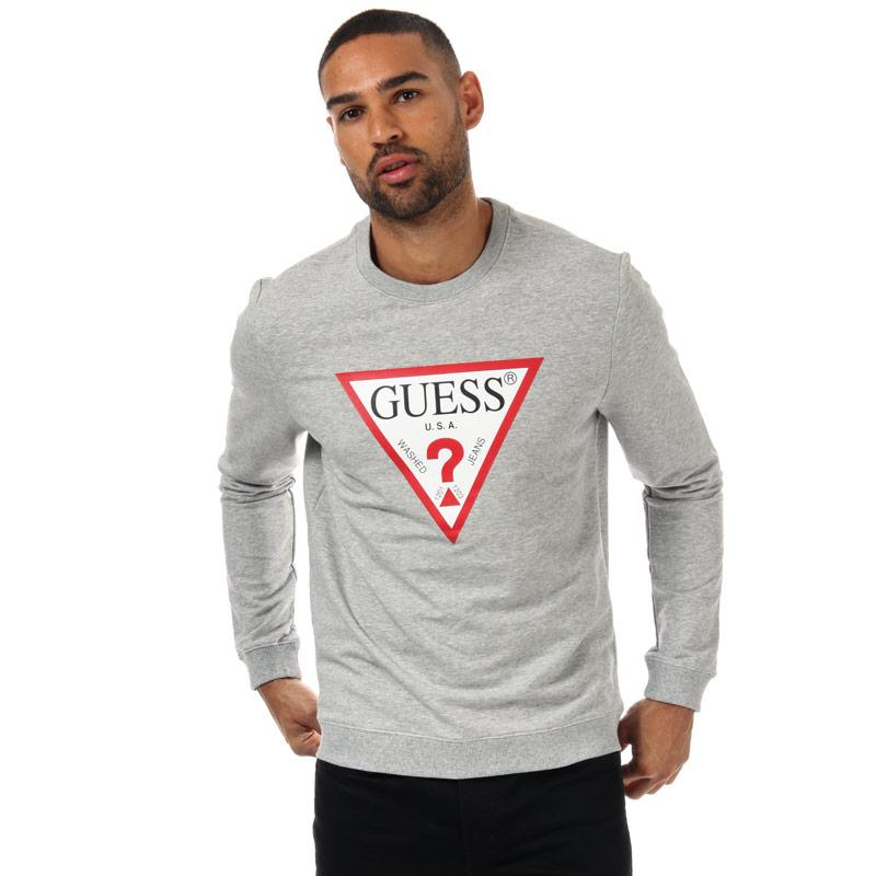 Mikina Guess Mens Audley Clear Stretch Crew Sweat Grey