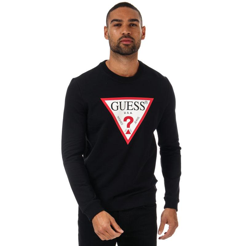 Mikina Guess Mens Audley Clear Stretch Crew Sweat Black