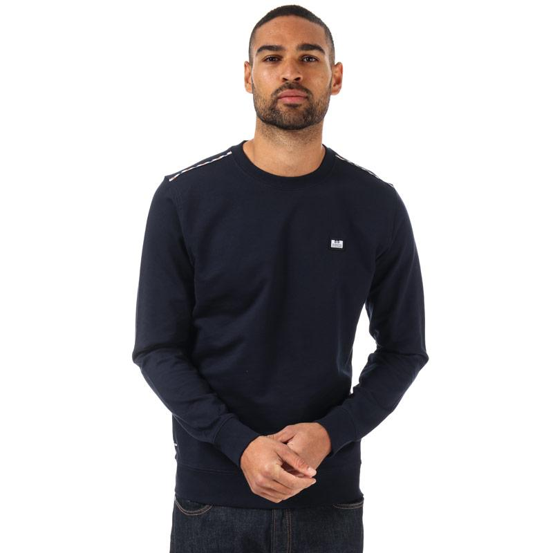 Mikina Weekend Offender Mens Dustin Check Crew Sweatshirt Navy